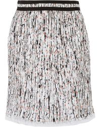 Carven - Printed Plissé-georgette Skirt Light Gray - Lyst