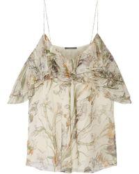 Alexander McQueen - Cold-shoulder Ruffled Floral-print Silk-georgette Top - Lyst