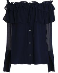 Opening Ceremony | Off-the-shoulder Ruffled Crinkled Silk-chiffon Blouse Midnight Blue | Lyst