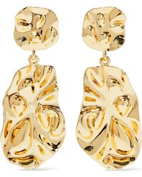 Noir Jewelry - Hammered Gold-tone Earrings - Lyst