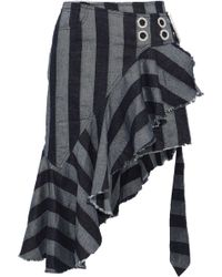 1b4a6bc133 Marques'Almeida - Asymmetric Ruffled Striped Denim Wrap Skirt Anthracite -  Lyst