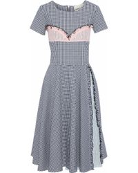 Sandy Liang - Dacia Lace-paneled Sequin-embellished Gingham Poplin Dress - Lyst