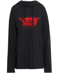Vetements - Woman Printed Cotton-jersey Hooded Top Black - Lyst