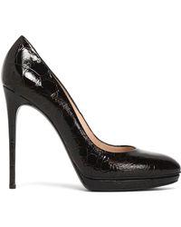 Casadei - Textured Patent-leather Platform Court Shoes - Lyst