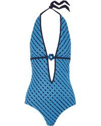 La Perla - Floral-appliquéd Paneled Striped Halterneck Swimsuit - Lyst