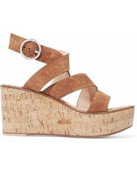 Gianvito Rossi - Denim And Cork Wedge Sandals - Lyst