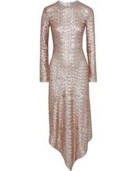 Preen By Thornton Bregazzi - Woman Sequined Mesh Midi Dress Rose Gold - Lyst