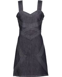 10 Crosby Derek Lam - Lace-up Embroidered Denim Mini Dress - Lyst