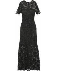 Ganni - Woman Flynn Lace Maxi Dress Black - Lyst