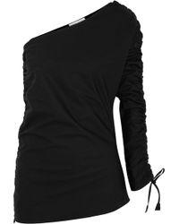 Barbara Casasola | Ruched Asymmetric Cotton-gabardine Top | Lyst