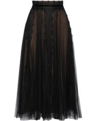 Marchesa notte - Velvet And Lace-trimmed Pleated Tulle Midi Skirt - Lyst