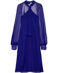 Lanvin - Satin-trimmed Knotted Chiffon Dress - Lyst