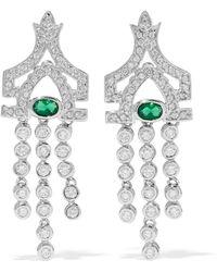 CZ by Kenneth Jay Lane - Woman Silver-tone Crystal Earrings Silver - Lyst