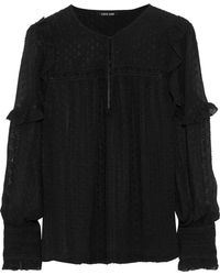 Love Sam - Joy Lace-trimmed Fil Coupé Georgette Blouse - Lyst