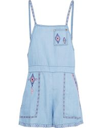 Camilla - Embroidered Tencel-chambray Playsuit - Lyst