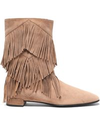 Roger Vivier - Fringed Suede Ankle Boots Light Brown - Lyst
