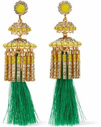 Elizabeth Cole - 24-karat Gold-plated, Swarovski Crystal, Stone And Tassel Earrings - Lyst