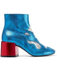MM6 by Maison Martin Margiela - Laminated Leather Ankle Boots - Lyst