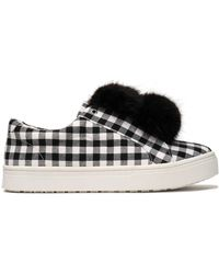 Sam Edelman - Faux Fur-trimmed Gingham Canvas Slip-on Trainers - Lyst