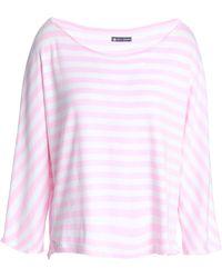 Petit Bateau - Woman Striped Cotton-jersey Top Baby Pink - Lyst