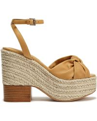 Michael Kors - Woman Knotted Leather Espadrille Wedge Sandals Mustard - Lyst