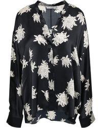 Vince - Woman Floral-print Silk-crepe Blouse Black - Lyst