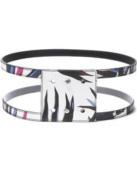 Emilio Pucci - Studded Printed Leather Wide Belt - Lyst