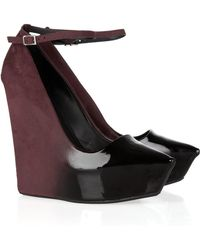 Theyskens' Theory - Ombré Patent-leather And Suede Wedges - Lyst