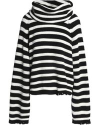 RTA - Alexis Striped Ribbed Cotton Turtleneck Swearer - Lyst