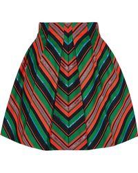 Delpozo - Pleated Striped Neoprene Mini Skirt Bright Orange - Lyst