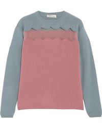 Valentino - Tulle-paneled Wool And Cashmere-blend Jumper - Lyst