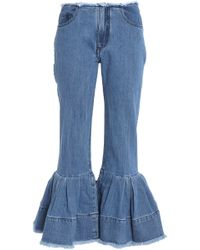 Marques'Almeida - Frayed Pleated Low-rise Flared Jeans - Lyst