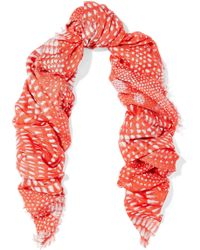 Roberto Cavalli - Frayed Printed Modal-gauze Scarf - Lyst