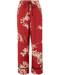 McQ - Woman Printed Crepe De Chine Wide-leg Pants Red - Lyst