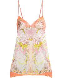 Roberto Cavalli - Floral-print Silk-blend Satin Chemise - Lyst