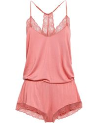 Eberjey - Woman Lace-trimmed Stretch-modal Jersey Playsuit Antique Rose - Lyst