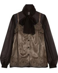 Dolce & Gabbana - Silk-chiffon And Lace Blouse - Lyst