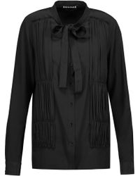 Rochas - Pussy-bow Ruched Silk-satin Blouse - Lyst