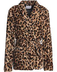 Velvet By Graham & Spencer - Belted Leopard-print Velvet Jacket Animal Print - Lyst