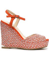 Jimmy Choo Perla 120 Suede And Metallic Woven Wedge Sandals Bright Orange