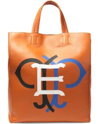 Emilio Pucci - Printed Leather Tote Light Brown - Lyst