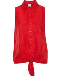 96aef329695502 Iris   Ink - Woman Aubree Tie-front Washed-twill Shirt Red - Lyst