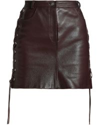 Magda Butrym - Lace-up Textured-leather Mini Skirt - Lyst