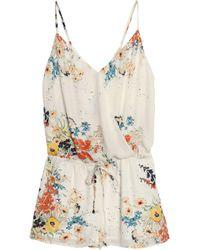 Joie - Jerrica Wrap-effect Floral-print Silk Crepe De Chine Playsuit - Lyst