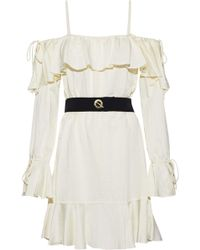 10 Crosby Derek Lam - Cold-shoulder Belted Ruffled Sateen Dress - Lyst