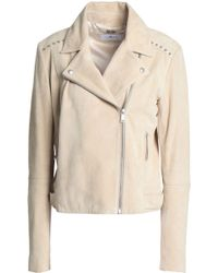 7 For All Mankind - Woman Studded Suede Biker Jacket Beige - Lyst