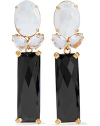 Bounkit - Woman Convertible Gold-tone, Mother-of-pearl, Onyx And Quartz Earrings Ivory - Lyst