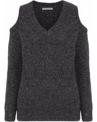 Rebecca Minkoff - Page Cold-shoulder Marled Merino Wool-blend Jumper - Lyst