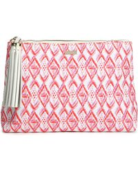 Melissa Odabash - Woman Tasselled Printed Canvas Pouch White - Lyst