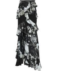 Roberto Cavalli - Ruffled Printed Silk Crepe De Chine Skirt - Lyst